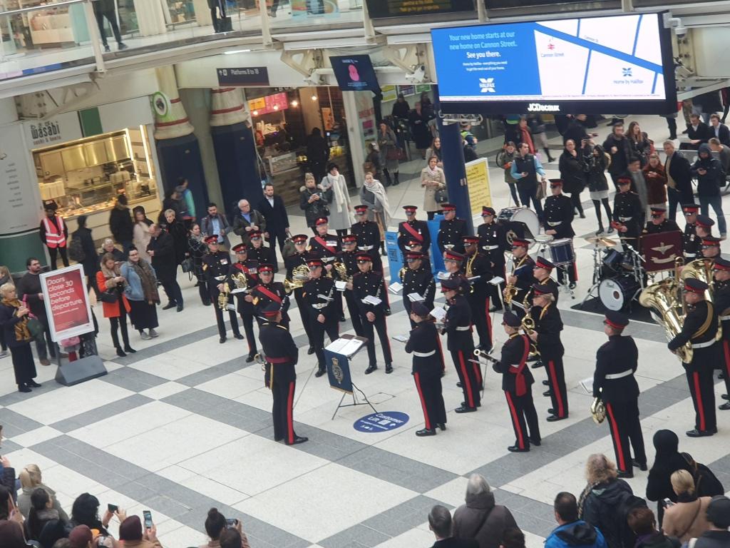 Band playing at Liverpool Street Station, London ready for Rememberance Day.